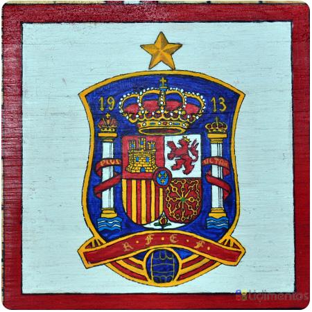 Parchís de fútbol. Escudo de la Real Federación Española de Fútbol.