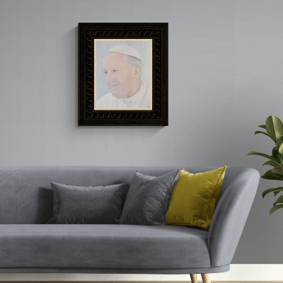 Pope Francis, on the wall